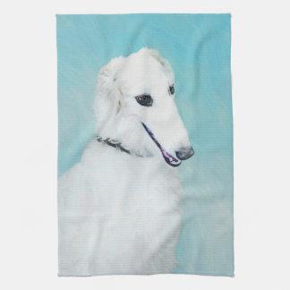 Borzoi (White) Painting - Cute Original Dog Art Tea Towel