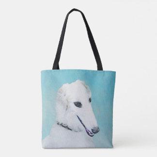 Borzoi (White) Painting - Cute Original Dog Art Tote Bag
