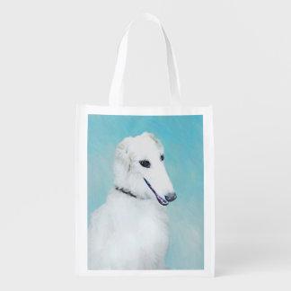 Borzoi (White) Reusable Grocery Bag
