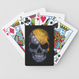 Bosnia and Herzegovina Flag Skull on Black Bicycle Playing Cards