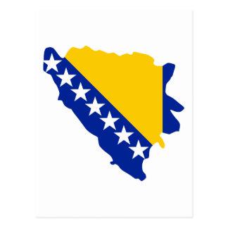 Bosnia and Herzegovina map flag Postcard