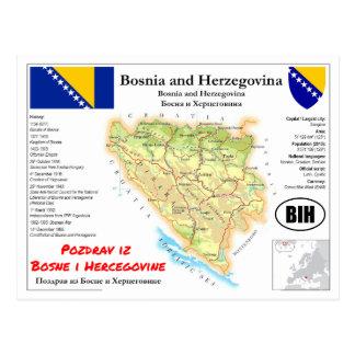 Bosnia and Herzegovina map Postcard