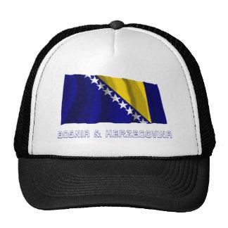 Bosnia and Herzegovina Waving Flag with Name Trucker Hats