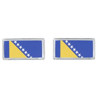 Bosnia Flag Silver Finish Cufflinks