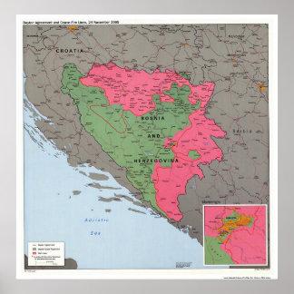 Bosnia & Hercegovina Map - 1995 Poster