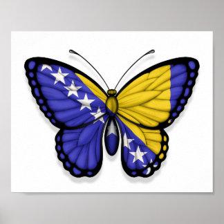 Bosnia Herzegovina Butterfly Flag Poster