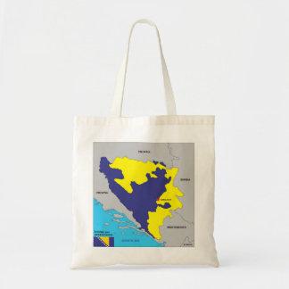 Bosnia Herzegovina country political map flag Canvas Bags
