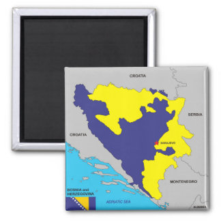 Bosnia Herzegovina country political map flag Magnet
