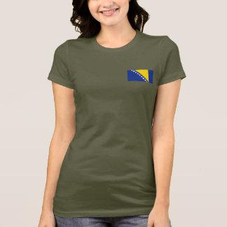 Bosnia Herzegovina Flag and Map dk T-Shirt
