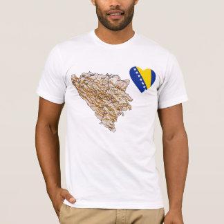 Bosnia Herzegovina Flag Heart and Map T-Shirt
