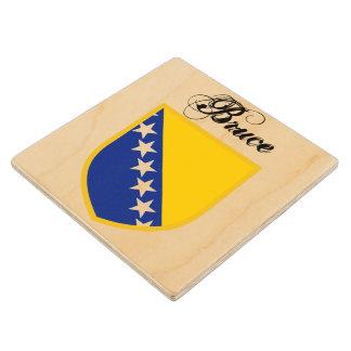 Bosnia Herzegovina Flag Wood Coaster