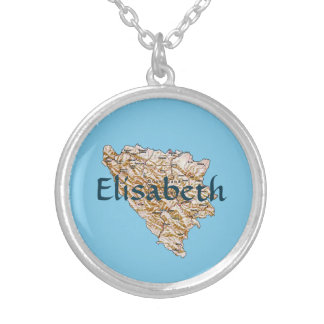 Bosnia Herzegovina Map + Name Necklace