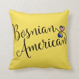 Bosnian American Entwined Hearts Throw Cushion