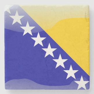 Bosnian glossy flag stone coaster
