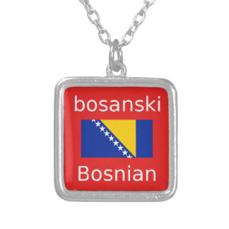 Bosnian Language Design Silver Plated Necklace