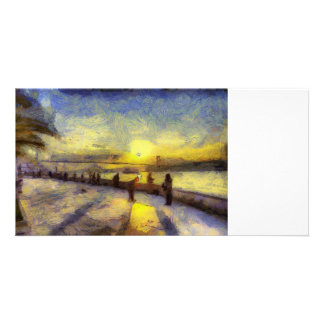 Bosphorus Istanbul Sunset Art Card