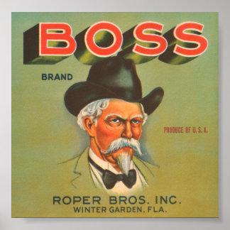 Boss Brand Roper Bros Inc VIntage Crate Label Poster