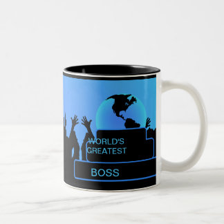 Boss Cheering World's Greatest Blue Two-Tone Mug