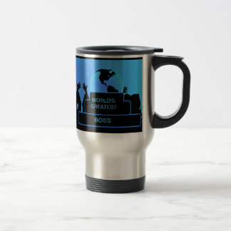 Boss Cheering World's Greatest Blue Travel Mug