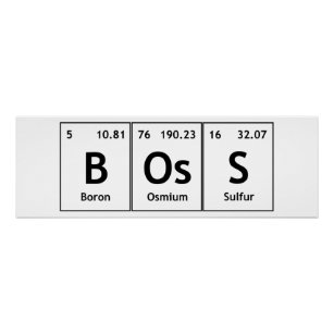 Periodic table elements symbols words gifts on zazzle au boss chemistry periodic table words elements atoms poster urtaz Image collections