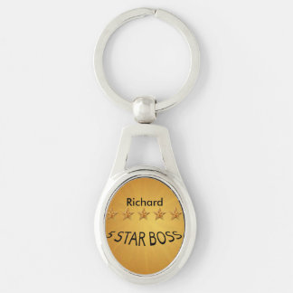Boss Day Five Star Custom MK Silver-Colored Oval Key Ring