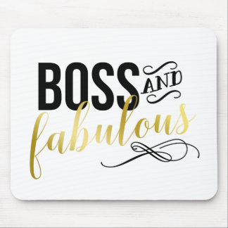 Boss & Fabulous | Gold & Black Typography Mouse Pad
