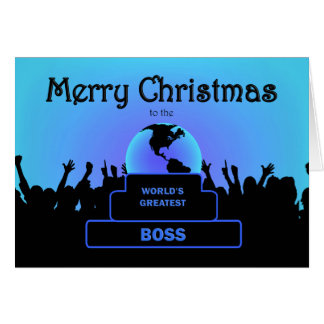 Boss Greatest  Cheers Christmas Blue Card