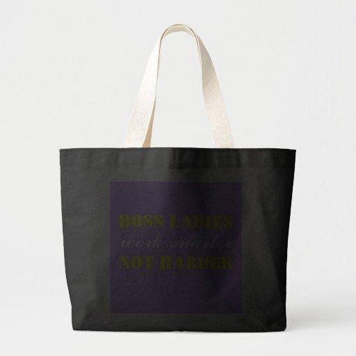 Boss Ladies Work Smarter Not Harder Jumbo Tote Canvas Bags