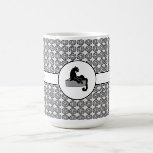Boss Lady Black Cat and Pattern Flowers Coffee Mug