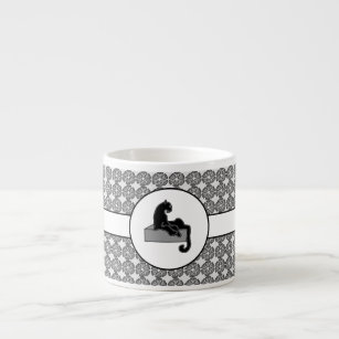 Boss Lady Black Cat and Pattern Flowers Espresso Cup