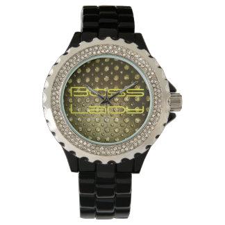 Boss Lady Bling Rhinestone with Black Enamel Watch