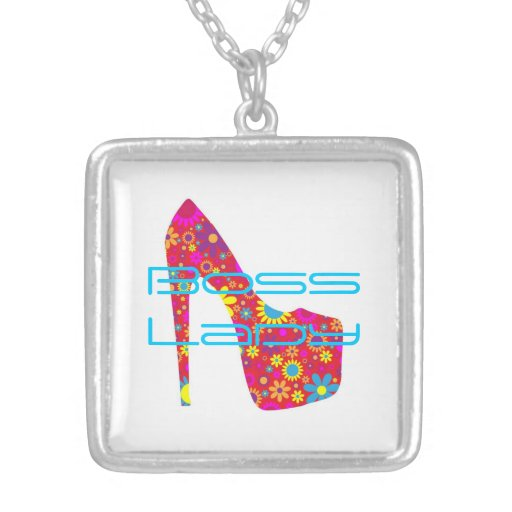 Boss Lady Flowers High Heel Shoe Necklace