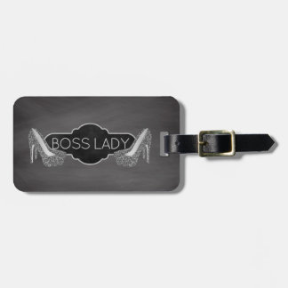 Boss Lady High Heel Shoes Chalkboard Personalized Luggage Tag