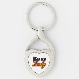 Boss Lady Silver-Colored Twisted Heart Key Ring