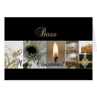 Boss Merry Christmas  black gold christmas-mas col Greeting Card