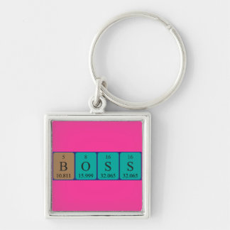 Boss periodic table name keyring Silver-Colored square key ring