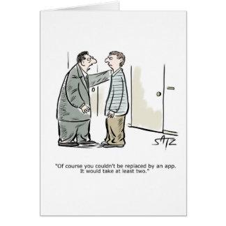 Boss talking to employee greeting card