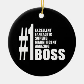 Bosses Birthdays Gifts : Number One Boss Round Ceramic Decoration