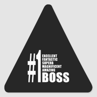 Bosses Birthdays Gifts : Number One Boss Triangle Sticker