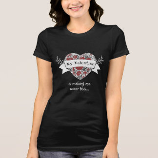 Bossy Valentine - Patterened Heart - Red T-Shirt