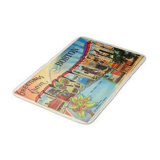 Boston #2 Massachusetts MA Vintage Travel Souvenir Bath Mats