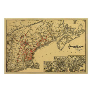 Boston and Maine Railroad Map 1898 Poster