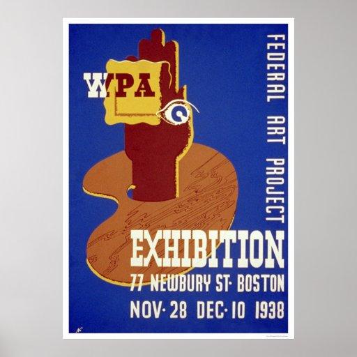 Boston Art Exhibition 1938 WPA Print