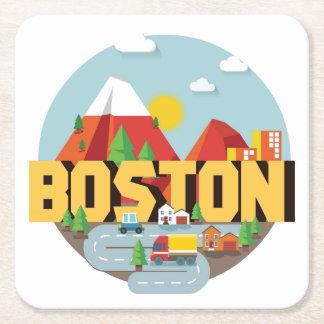 Boston As A Destination Square Paper Coaster