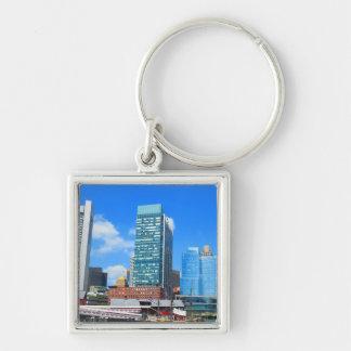 Boston City Buildings n Urban Landscape Silver-Colored Square Key Ring