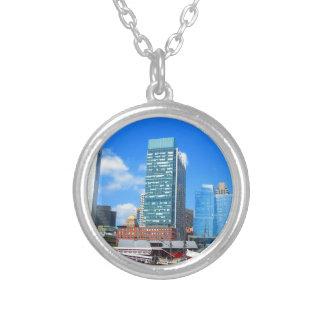 Boston City Buildings n Urban Landscape Round Pendant Necklace