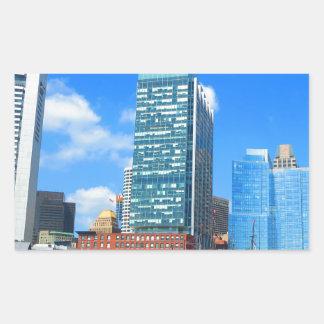 Boston City Buildings n Urban Landscape Rectangular Sticker