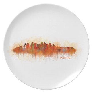 Boston City Massachusetts skyline v3 Plate