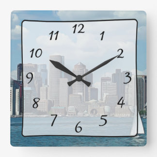 Boston City Skyscrapers View Clock