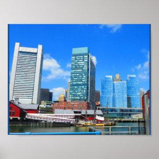 Boston City Urban Landscape towers buildings lake Poster